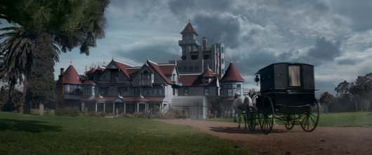 The exterior of Winchester mansion from the film