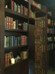 The secret door hidden within the bookcase