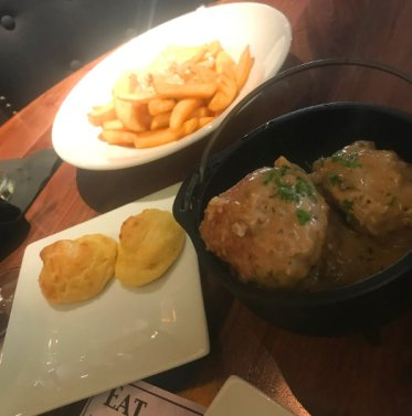 The gougeres, French meatballs and steak frites with mustard mornay sauce