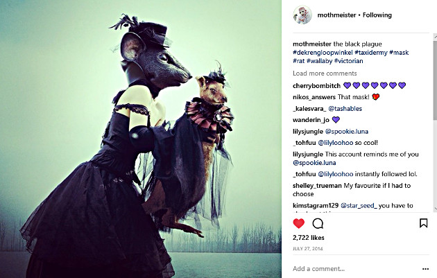 Mothmeister collects all costumes, masks and taxidermy for their photoshoots (Photo from the Mothmeister Instagram page)