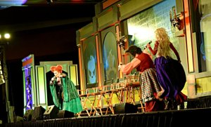 """The Sanderson Sisters perform """"I Put a Spell on You"""" during the """"Hocus Pocus"""" presentation at Midsummer Scream"""