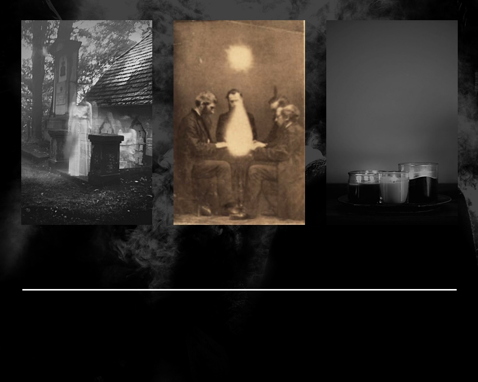 Middle image is of a séance conducted by medium John Beattie in Bristol, England in 1872