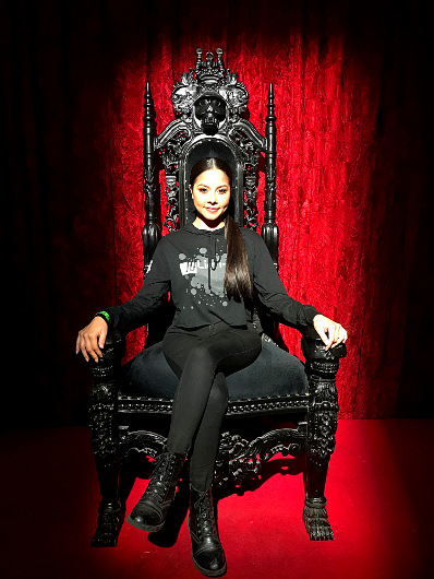 Sitting upon my throne at the Fangtasia Bar inside Warner Bros. Studios: Horror Made Here