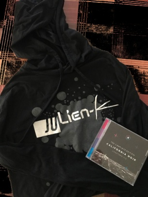 Julien-K merch I scored after the show: a sweatshirt and California Noir - The Complete Edition cd