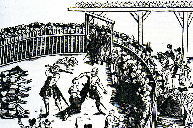 Depiction of a public execution of pirates in Hamburg, Germany, circa September 10, 1573