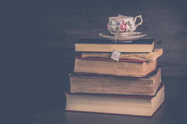 Book Stack and Tea Cup