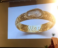 A gold ring with engraving