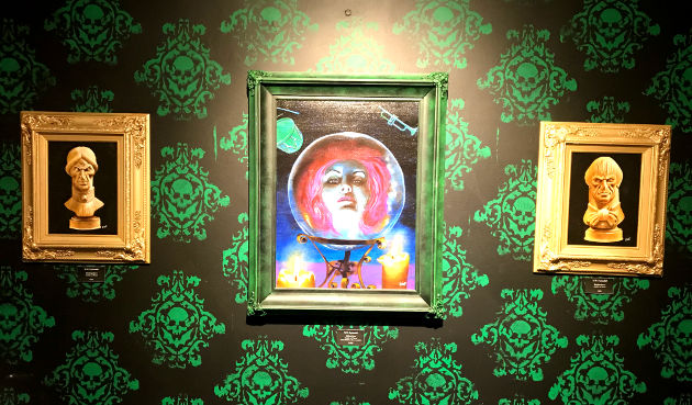 """Madame Leota"" and ""Watching Busts"" paintings by D.W. Frydendall"