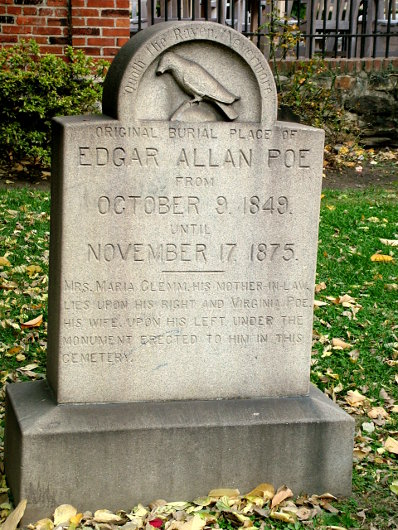 The headstone that marks Edgar Allan Poe's original burial place at Westminster Hall in Baltimore, Maryland