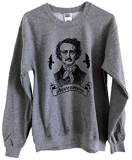 An Edgar Allan Poe sweatshirt by Friendly Oak, sold on Amazon
