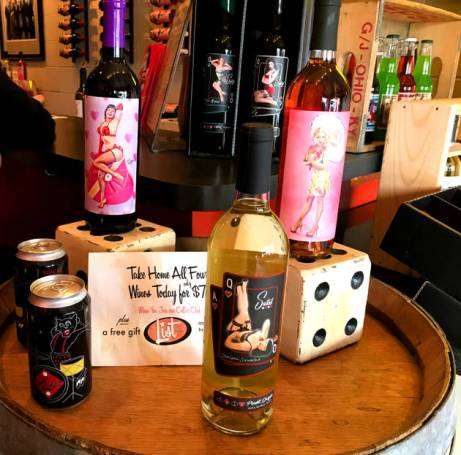 Sort This Out Cellars wines feature pin-up models on bottles