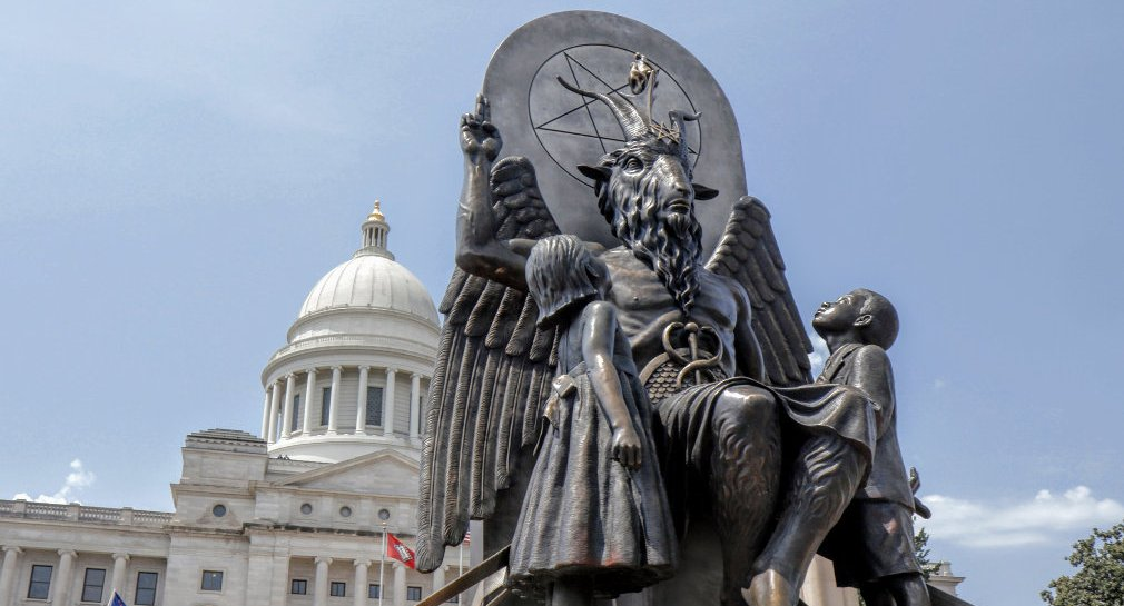 Baphomet monument in front of the state capitol building in Little Rock, AR featured in HAIL SATAN?, a Magnolia Pictures release. Photo courtesy of Magnolia Pictures.
