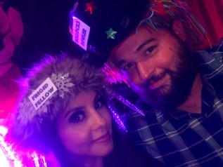 My husband and I wearing our Bollocks Bowler and Frigid Fellow hats