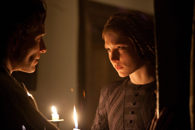 Michael Fassbender as Edward Rochester and Mia Wasikowska as Jane Eyre in the 2011 film adaptation of the Charlotte Brontë novel