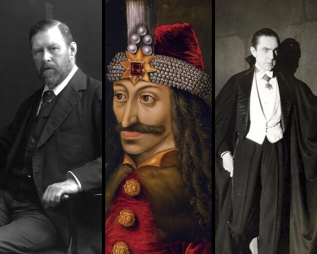 From left to right: Bram Stoker, Vlad Tepes and Bela Lugosi as Dracula
