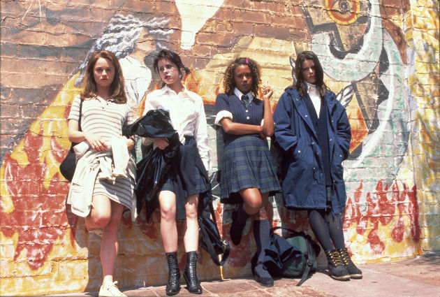 From left to right:  Robin Tunney as Sarah Bailey; Fairuza Balk as Nancy Downs; Rachel True as Rochelle; Neve Campbell as Bonnie (© Columbia Pictures & Sony Pictures)
