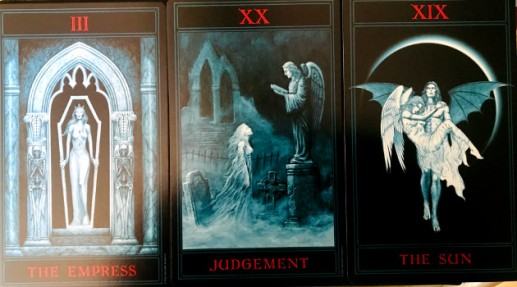 Cards in the Gothic Tarot deck illustrated by Joseph Vargo